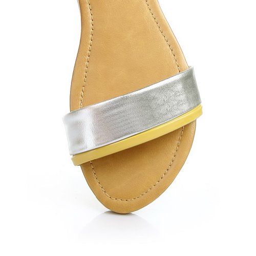 Zipper Blend Materials Material Womens Toe VogueZone009 Assorted Sandals Yellow Soft Open Colors with FwZ1nqO