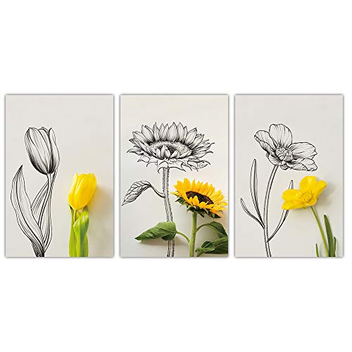 """SUMGAR Sketch Flowers Yellow Floral Canvas Wall Art Modern Home Decor for Living Room Ready to Hang,16""""x24""""x3pcs"""