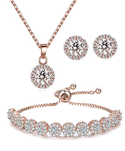 Lé Joli 18K Rose Gold Plated Round Cut Cubic Zirconia Bracelet, Necklace and Earrings Jewelry Set (Adjustable Strand Bracelet) Cubic Zirconia Strand Earrings