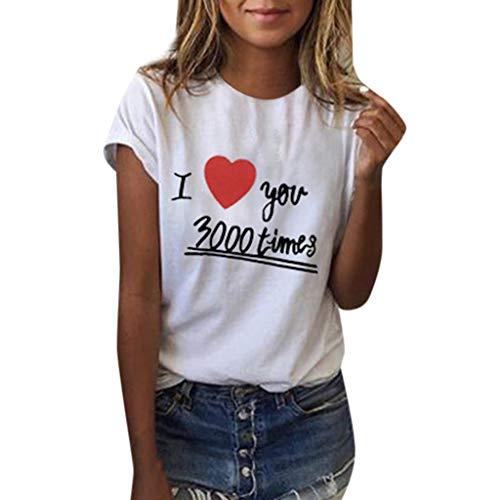 Women Girls Plus Size I Love You Three Thousand Times Print Tees Shirt Short Sleeve Blouse Top CapsA White