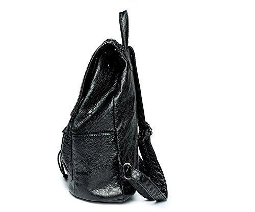 Unie à Couleur small en Bandoulière Capacité à Sac Sac Voyage cuir Femmes Black Grande Sac Portable Vent PU Collège dos 14qEPFxw