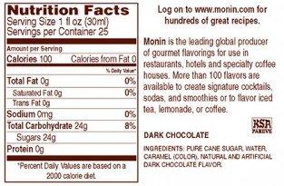 Monin Flavored Syrup, Dark Chocolate, 33.8-Ounce Plastic Bottle ( 1 liter)