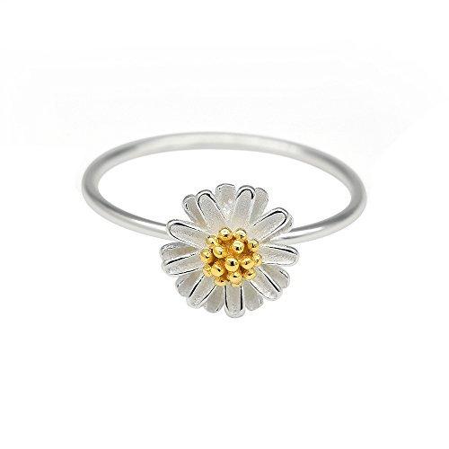 HANFLY Daisy Ring 925 Silver Flower Ring Sterling Silver Daisy Ring (8) - Sterling Silver Daisy Flower Ring