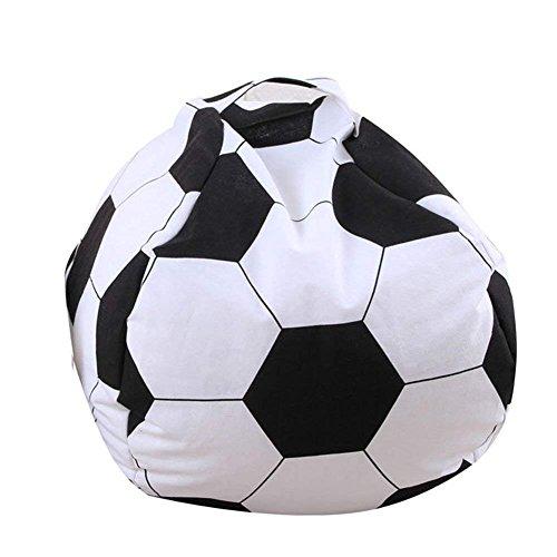 Storage Bag, Kids Stuffed Animal Plush football Toy Storage Bean Bag Soft Pouch Stripe Fabric Storage Packet by Kuke
