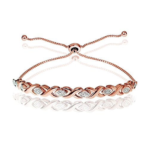 Glitzs Jewels Rose Gold Flash Silver Simulated Diamond Accented X Tennis Adjustable Bolo Bracelet