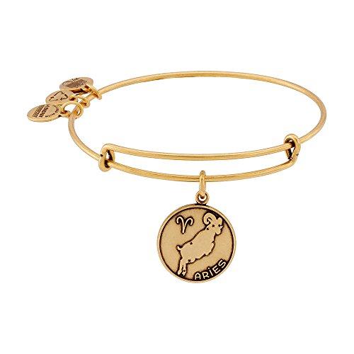"Alex and Ani Rafaelian Gold-Tone Aries II Expandable Wire Bangle Bracelet, 7.25"""