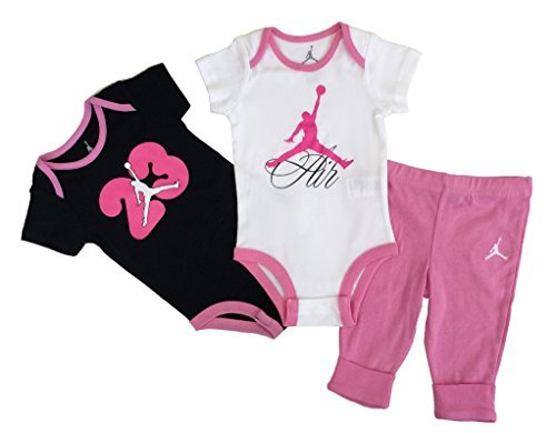 - Nike Jordan New Born Baby Girl Bodysuit and Pants 3 Pcs Layette Set (6/9M)