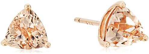 10k Rose Gold Morganite Trillion Stud Earrings