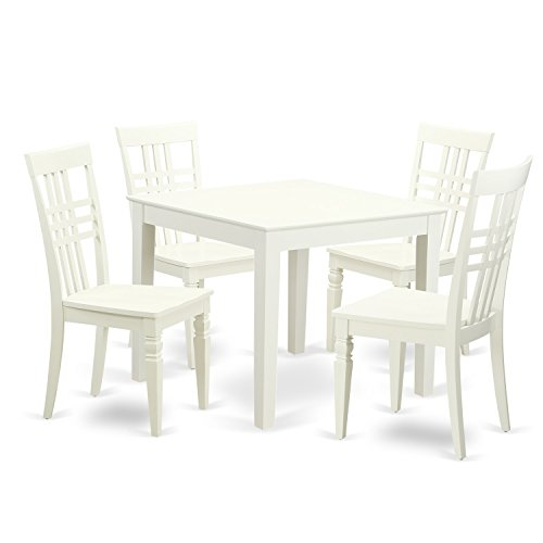 East West Furniture OXLG5-LWH-W 5Piece Kitchen Dining Table & 4 Wood Chairs for Dining Room in Linen White Finish