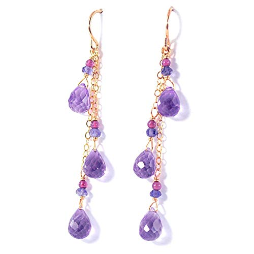 Amethyst Briolette Earrings with Garnet and Iolite Accents in 14K Gold Fill ()
