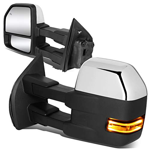 DNA Motoring TWM-058-T999-CH-CL Powered w/LED Turn Signal+Puddle Light Side Towing Mirror Replacement