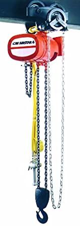 CM 7406B AirStar 6 Air Hoist with Pendant Throttle Control and Hook Suspension, 4000 lbs Capacity, 10' Lift Height, 15 fpm Lift Speed, 70 SCFM, 90 psi