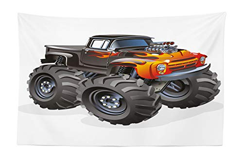 Lunarable Nursery Tapestry, Monster Truck in Flame Big Hobby Sports Exotic Automobile Style Image, Fabric Wall Hanging Decor for Bedroom Living Room Dorm, 45 W X 30 L Inches, Charcoal Grey and Orange