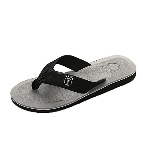 NIKAIRALEY Shoes Mens Sandals | Flip Flops for Men with Cushion Bounce Footbed Summer Casual Indoor&Outdoor Beach Slippers Gray