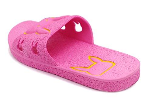 pour coulissantes de femmes Lot PVC de sandales pour 2 pour Insun en rouge femmes bains salle rose RCCTIqt