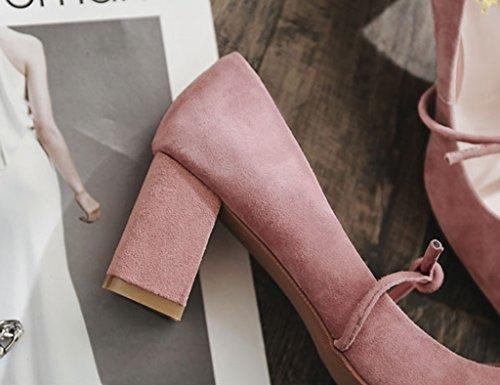 Tama Punta Con Zapatos 36 Season Spring Mujer Zapatos High o ZCJB Gruesos Color De Heels Individuales Con Maiden Pink 4a0nY