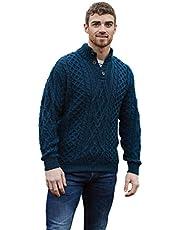 Aran Woollen Mills Irish Diamond Pattern Merino Wool Troyer Sweater