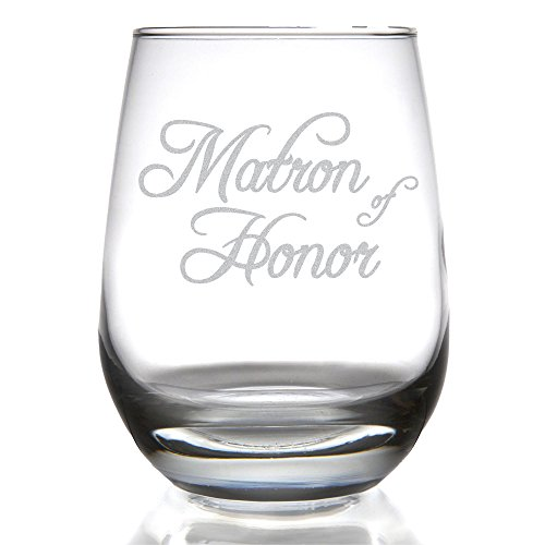 (Matron of Honor 15 ounce Stemless Wine Glass for Wedding Party/Attendant)