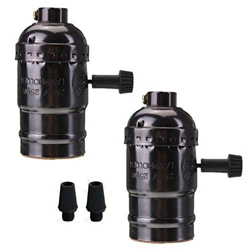 EFINEHOME Efine 2 Pack E26 E27 Socket Screw Bulbs Edison Retro Pendant Lamp Holder With Switch 110-220V and Plastic Strian Reliefs (Pearl black)