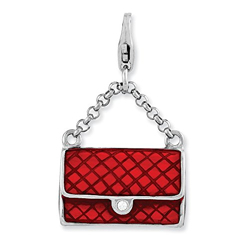 - FB Jewels Solid 925 Sterling Silver Enameled 3-D Purse Lobster Clasp Charm