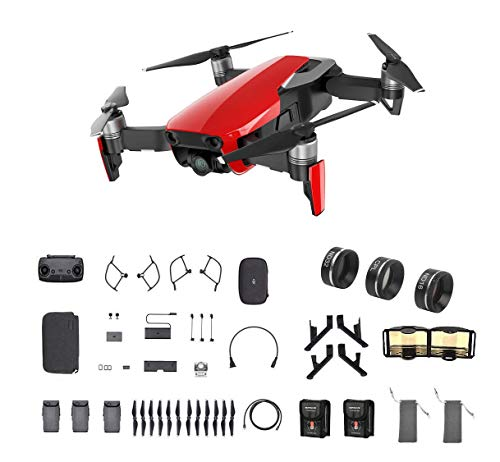 DJI Mavic Air Fly More Combo, Flame Red (2018 Version), 3-Filter Set, Landing Gear and More (Red)