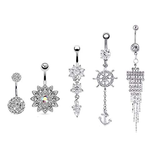 RYANDYPE 2-5PCS Stainless Steel Dangle Belly Button Rings for Women Curved Navel Barbell Screw Body Jewelry Piercing (Style 3)