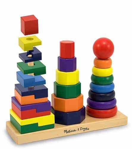 - 2 Item Bundle: Melissa & Doug 567 Geometric Stacker Toy + Free Activity Book