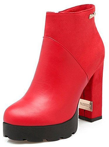 Easemax Women's Dressy High Chunky Heel Round Toe Platform Ankle High Booties With Zipper Red 37ZQc7mYa