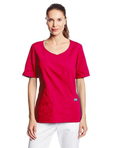 - Cherokee Women's Workwear Scrubs V-Neck Top, Raspberry, Small