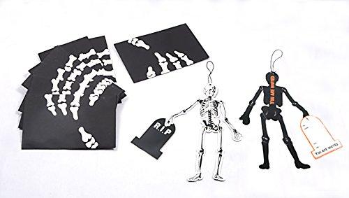 PAPERJAZZ 8 pcs halloween party skeleton invitation card hanging decoration ()