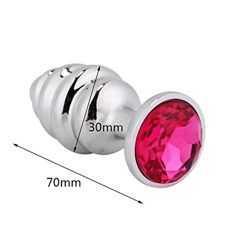 Muscle Vibrators Smooth Touch Metal A-nal Plug with C-rystal Jewelry Butt Plug with Rhinestone No Vibrator A-nal Beads Sex Toys for Men/Women,Screw Small