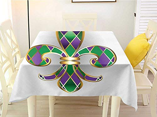 (Square Tablecloth Quilted Fleur De Lis Gold Colored Lily Symbol with Diamond Shapes Royalty Theme Ancient Art Gold Purple Green Washable 36 x 36 Inch)