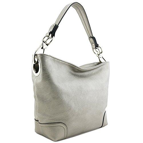 Hobo Shoulder Bag with Big Snap Hook Hardware (Dark Silver)