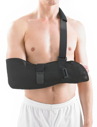 NEO G Airflow Breathable Arm Sling - Medical Grade Quality with waist strap, breathable, lightweight fabric, comfort fit, HELPS support & elevate arm, injury recovery, pre/post surgery-ONE SIZE (Strap Arm Sling)