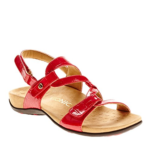 Vionic Womens Rest Paros Synthetic Sandals Red Croco