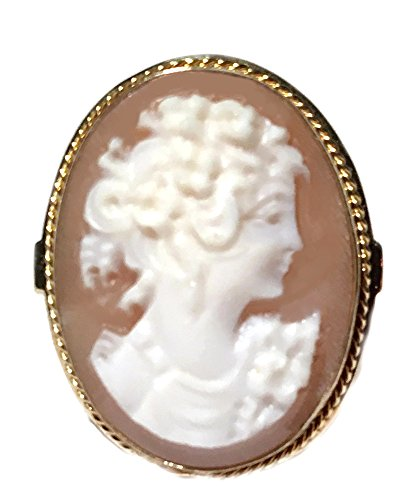 - Ring Cameo Master Carved, Sardonyx Shell Sterling Silver 18k Gold Overlay Italian Art Deco, Size 7