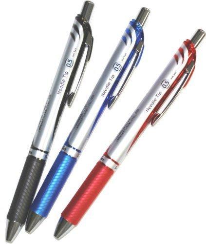 Pentel Energel Deluxe RTX Retractable Liquid Gel Pen,0.5mm, Fine Line, Needle Tip, Black.blue.red Ink-value set of 3