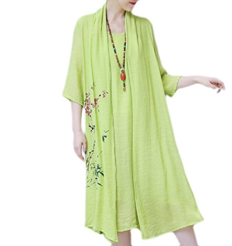 Chinese Women Green Faux Style Oversized Twinset Coolred Painting Dress Swing Flared 7FwU4q56B