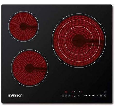 Encimera - Infiniton VITRO316, Vitrocerámica, Eléctrica, 3 zonas, 60cm, Táctil, 3000W, Negro: 139.27: Amazon.es: Grandes electrodomésticos
