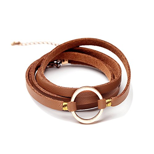 Satr and Sea Unisex Multilayer Leather Circle Bracelet Bangle Wristband (Brown)