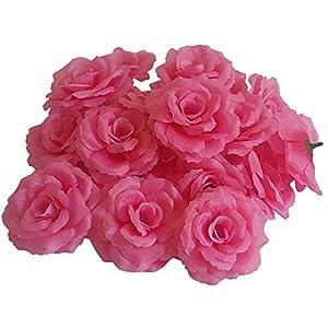 Eternal Blossom Silk Rose Flower Head, 20PCS for Hat Clothes Album Decoration, Wedding Decoration (Dark Pink) 114
