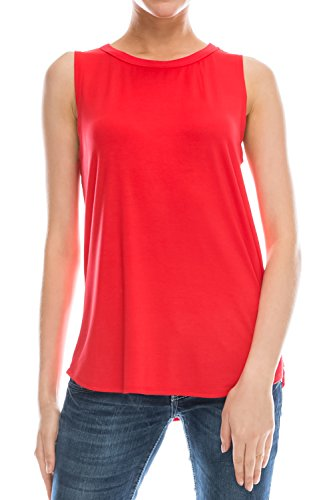 EttelLut Flowy Relaxed long workout tank tops for women Red L