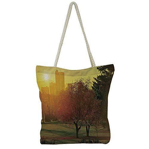 (Handbag Cotton and Linen Shoulder Bag Leisure Fashion,Nature,Sunset Over The Island Dry Tree Distant Hills Sandy Shoreline Vacation Destination,Mauve Yellow,Customizable Design.)
