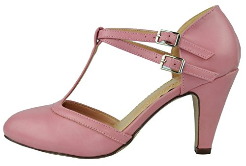 Womens T-strap Pumps - Chase & Chloe Women's Mary Jane T-Strap Round Toe Pump,9 B(M) US,Dusty Rose