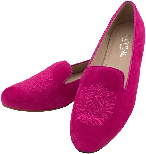 Trotteur Leather Embellished Moccasins Slipper 'Magenta with Embroidered Crest Alessia Pink zwqadf7xq