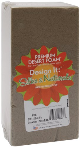 FloraCraft Floral Dry Foam Brick 2.8 Inch x 3.8 Inch x 7.8 Inch Brown DF348BS/20