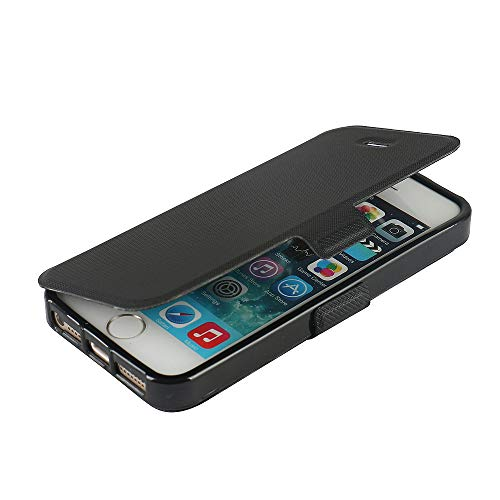 MTRONX iPhone 5s case, iPhone 5 case, iPhone SE case, Magnetic Ultra Folio Flip Slim PU Leather Soft TPU Twill Case Cover with Stand for Apple iPhone 5s iPhone 5 iPhone SE - Black(MS-BK)