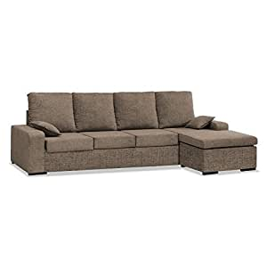 Sofa con Chaise Longue 4 plazas color marrón cheslong Redondela chaiselongue