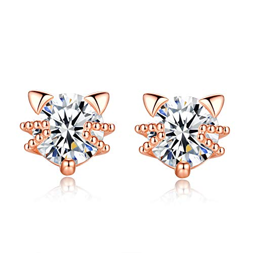 Cat Earrings for Women Cubic Zirconia Rose Gold Plated 925 Sterling Silver Ear Studs for Cat Lovers