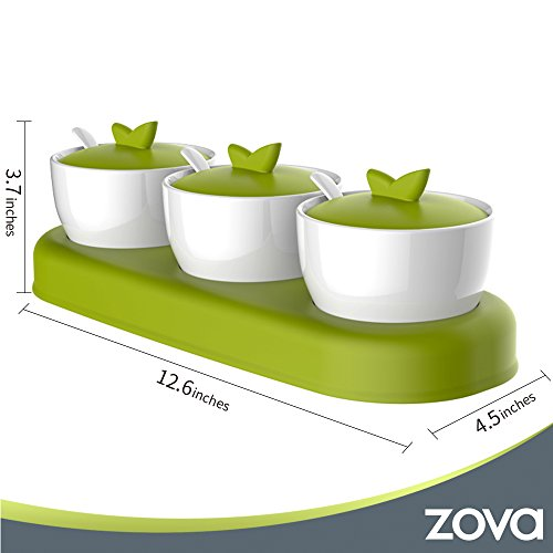 zova Ceramic Condiment Spice Jars Seasoning Box with Lid, Serving Spoon and Tray, Set of 3, White & Green by MR.SIGA (Image #5)